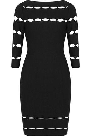 WOMAN GRANDIOSE CUTOUT STRETCH-KNIT DRESS BLACK