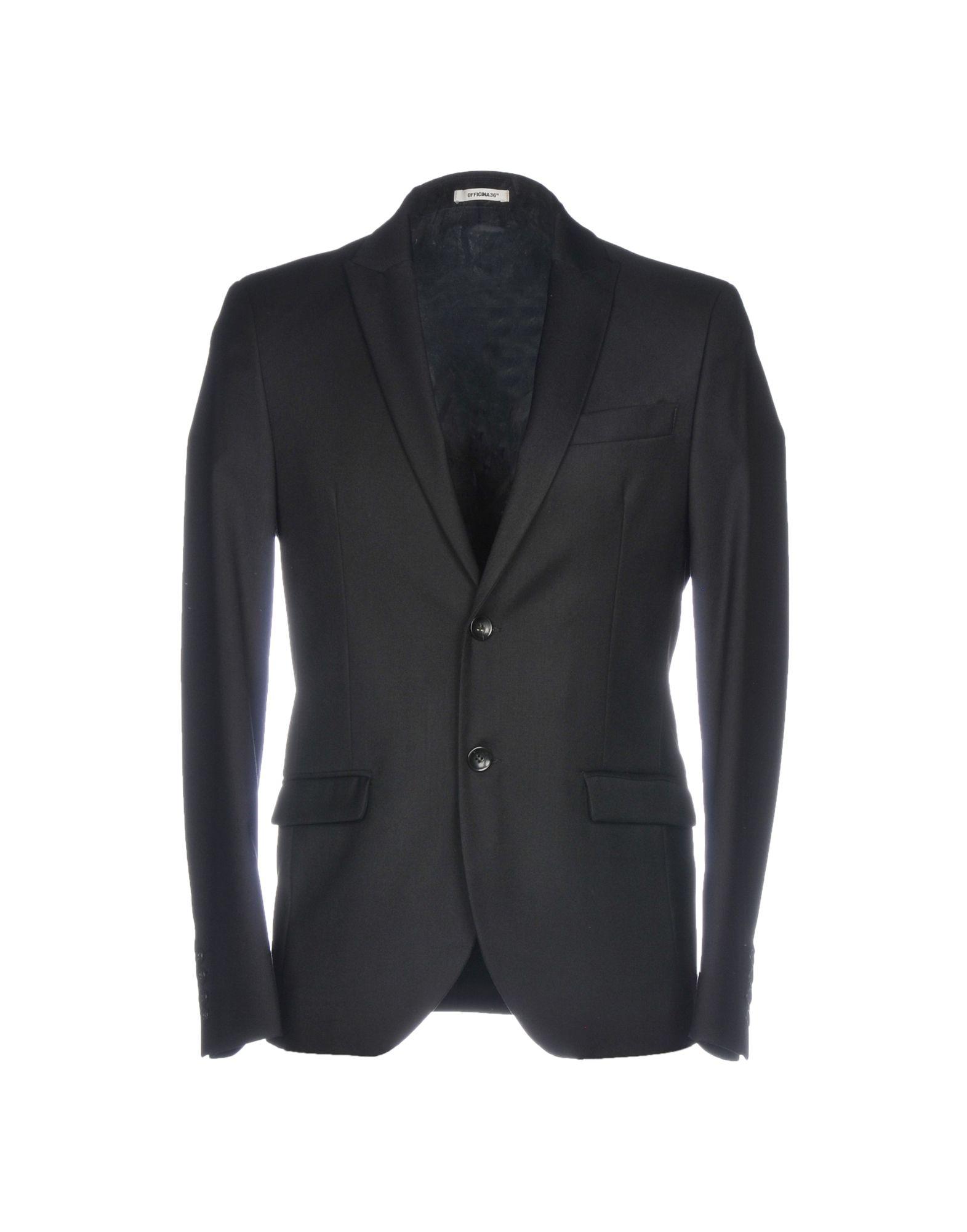 《期間限定 セール開催中》OFFICINA 36 メンズ テーラードジャケット ブラック 52 ポリエステル 70% / レーヨン 28% / ポリウレタン 2%
