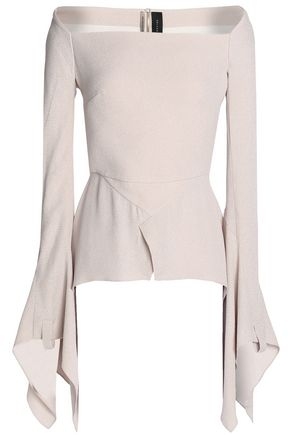 ROLAND MOURET Wicklow textured-crepe peplum top