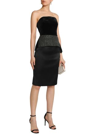Roland Mouret Syston Strapless Embroidered Velvet Peplum Top