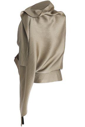 ROLAND MOURET Tavistock draped hammered silk-satin top