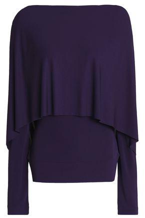 ROLAND MOURET Cape-effect stretch-knit top