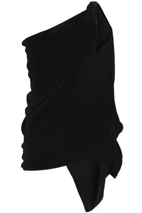 ROLAND MOURET One-shoulder draped velvet top
