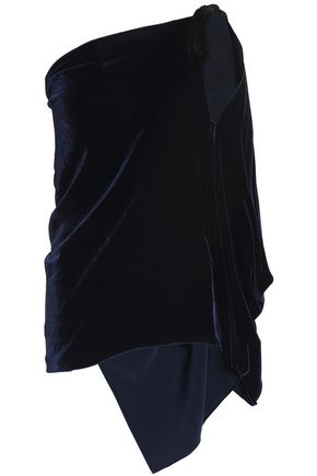 ROLAND MOURET Chilton one-shoulder draped velvet top
