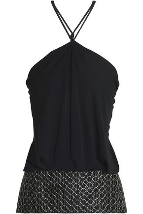 ROLAND MOURET Paneled metallic embroidered cady halterneck top