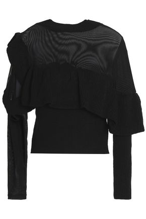 RAOUL Mesh-paneled ruffled cotton sweater
