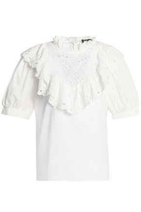 RAOUL Ruffled broderie anglaise-paneled cotton top