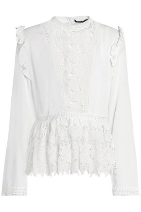 RAOUL Cotton guipure lace-paneled crepe peplum top
