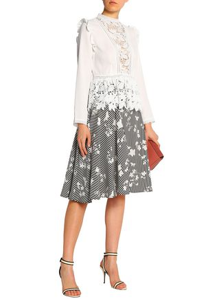 RAOUL Cotton guipure lace-paneled crepe peplum top
