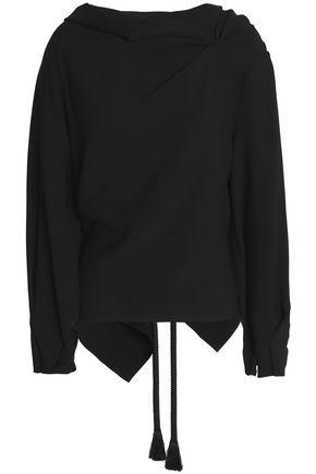 ROLAND MOURET Leyton tie-back gathered crepe blouse