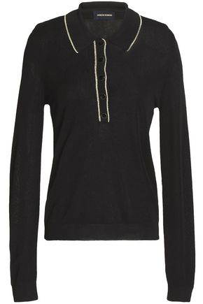 VANESSA SEWARD Metallic-trimmed stretch-knit polo shirt