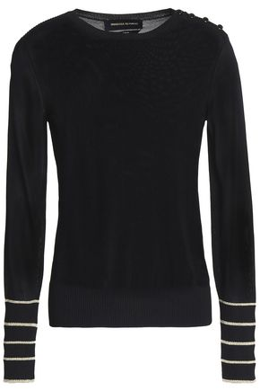 VANESSA SEWARD Metallic-trimmed ribbed-knit top