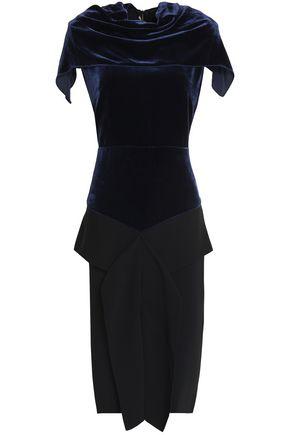 ROLAND MOURET Cattsdell draped velvet and crepe dress