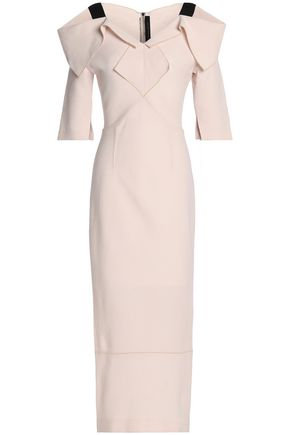ROLAND MOURET Westwick cold-shoulder wool-crepe midi dress