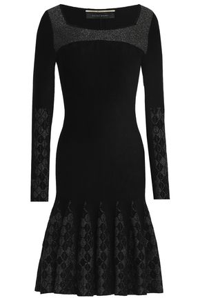 ROLAND MOURET Sesley fluted metallic jacquard-knit dress