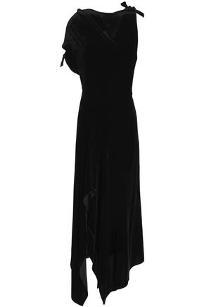 ROLAND MOURET Asymmetric draped velvet and crepe midi dress