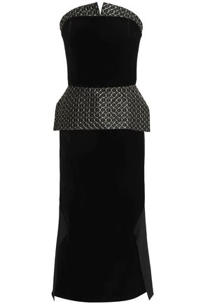 ROLAND MOURET Alciston metallic embroidered crepe and velvet peplum midi dress