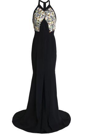 ROLAND MOURET Langton fluted embellished crepe halterneck gown