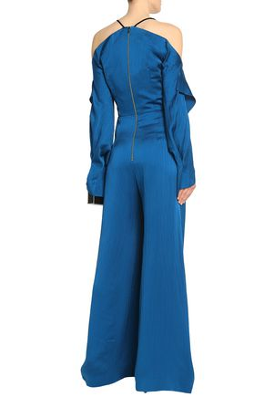 ROLAND MOURET Soham cold-shoulder hammered silk-satin wide-leg jumpsuit