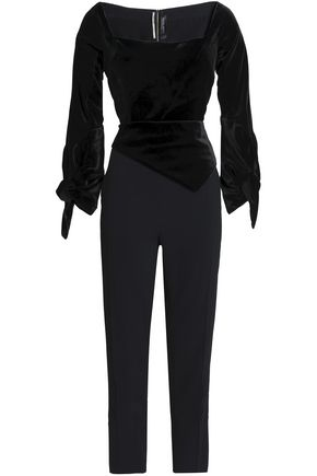 ROLAND MOURET Rayleigh cutout velvet and crepe jumpsuit