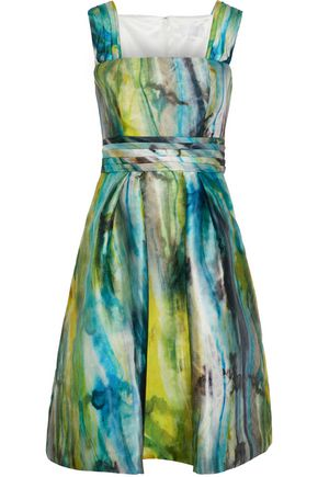 MIKAEL AGHAL Gathered printed satin-faille dress