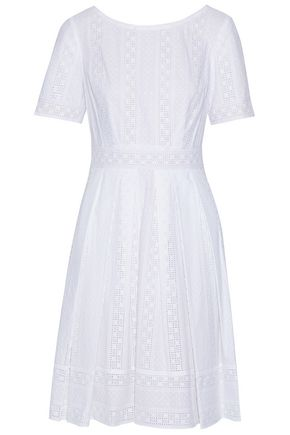 MIKAEL AGHAL Pleated broderie anglaise cotton dress