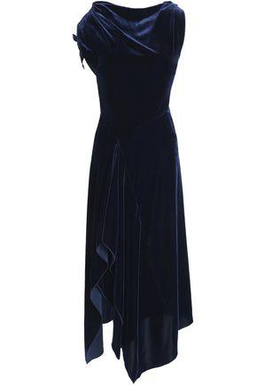 ROLAND MOURET Asymmetric draped velvet and crepe midi dress