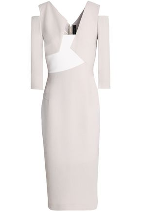 ROLAND MOURET Kiverton cold-shoulder paneled wool-crepe dress