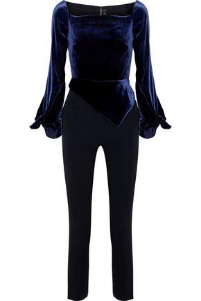ROLAND MOURET Cutout velvet-paneled crepe jumpsuit