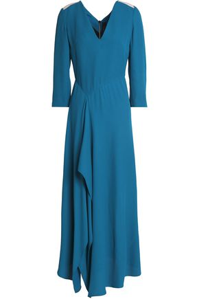 ROLAND MOURET Cutout draped crepe-cloqué maxi dress