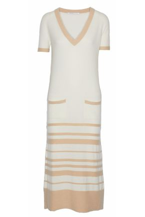 AGNONA Striped cashmere midi dress