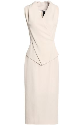 ROLAND MOURET Wrap-effect crepe-cloqué midi dress