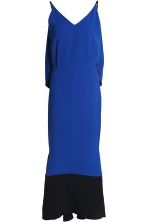 ROLAND MOURET Draped two-tone crepe midi dress
