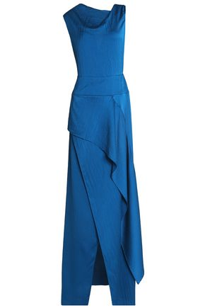 ROLAND MOURET Alford asymmetric draped hammered silk-satin gown