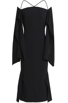 ROLAND MOURET Andover cold-shoulder fluted crepe midi dress