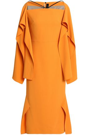 ROLAND MOURET Andover off-the-shoulder draped stretch-crepe midi dress