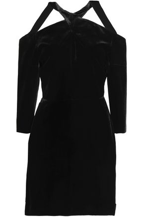 ROLAND MOURET Cold-shoulder velvet mini dress
