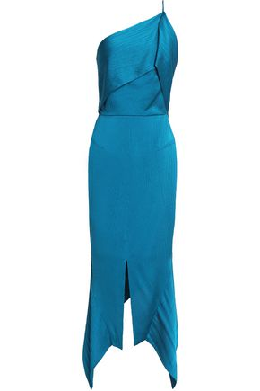 ROLAND MOURET One-shoulder hammered silk-satin midi dress
