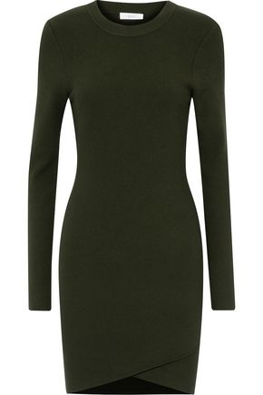 WOMAN RIBBED-KNIT MINI DRESS FOREST GREEN