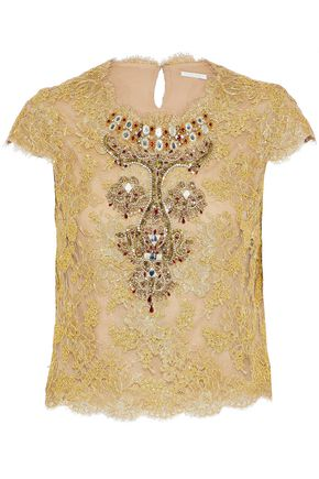 REEM ACRA Embellished metallic cotton-blend corded top