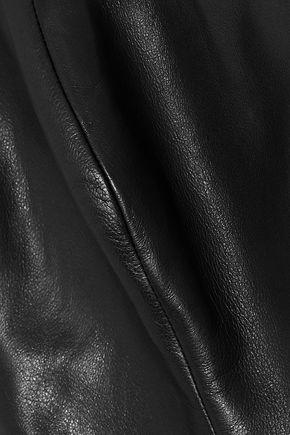 REEM ACRA Off-the-shoulder leather peplum top