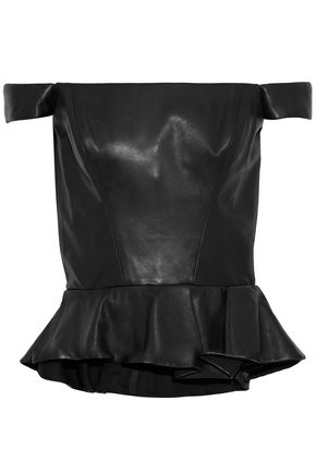 REEM ACRA Off-the-shoulder leather peplum top