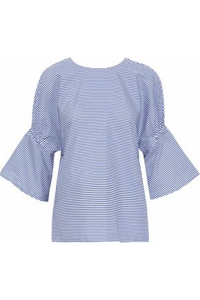 TIBI Shirred striped cotton-poplin top