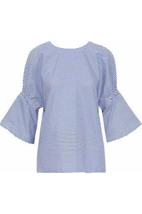 TIBI Shirred striped cotton-poplin top