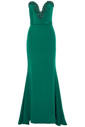 REEM ACRA Strapless tulle-paneled embellished silk crepe de chine gown
