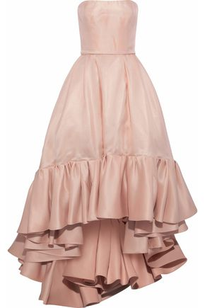 REEM ACRA Strapless ruffled silk-organza gown