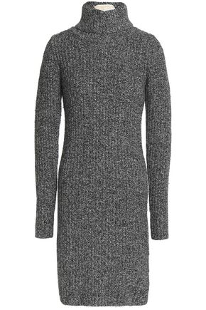 MICHAEL MICHAEL KORS Marled ribbed-knit turtleneck mini dress
