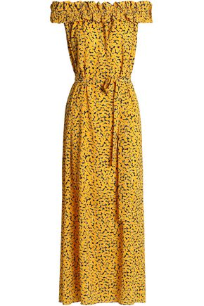 MICHAEL MICHAEL KORS Off-the-shoulder printed crepe maxi dress