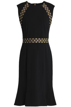 MICHAEL MICHAEL KORS Embellished lace-trimmed fluted jersey dress