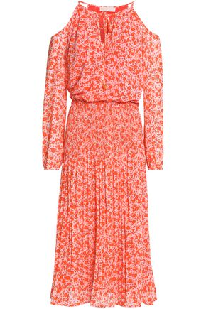 MICHAEL MICHAEL KORS Cold-shoulder floral-print crepe dress
